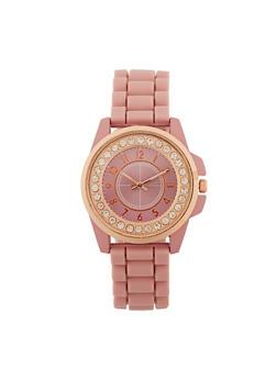 Rhinestone Watch with Silicone Strap - 3140071433266
