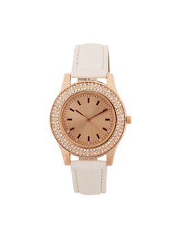 Rhinestone Watch with Textured Strap - 3140071433331