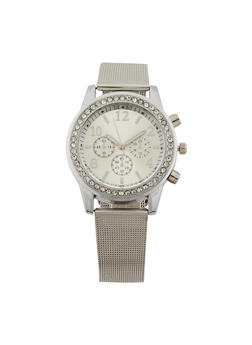 Rhinestone Watch with Metal Mesh Strap - 3140071433581