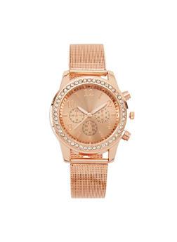 Rhinestone Watch with Metal Mesh Strap - 3140071433581