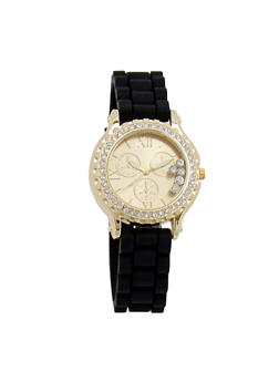 Rhinestone Bezel Watch with Woven Rubber Band - 3140071433666