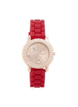 Rhinestone Bezel Watch with Woven Rubber Band - 3140071433666