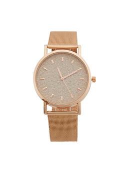 Glitter Face Metallic Mesh Watch - 3140071433811