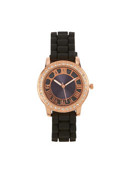 Rhinestone Bezel Watch with Rubber Strap - 3140071433929