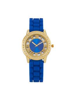 Rhinestone Bezel Watch with Rubber Strap - 3140071433929