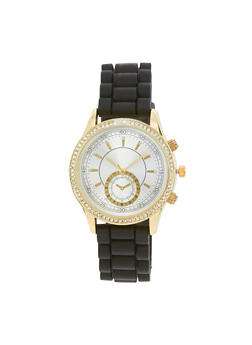 Rhinestone Bezel Watch with Rubber Chain Strap - 3140071434092