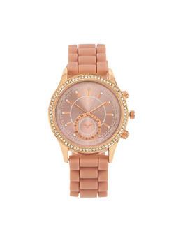 Rhinestone Bezel Watch with Rubber Chain Strap - 3140071434092