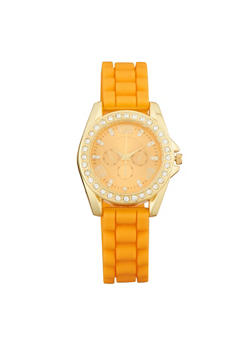 Rhinestone Bezel Watch with Rubber Chain Strap - 3140071434225