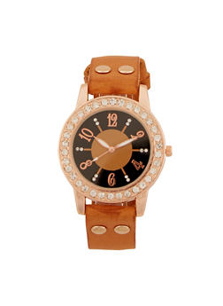 Rhinestone Watch with Faux Leather Strap - 3140071434305