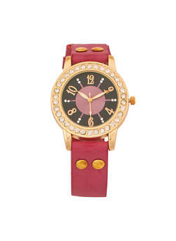 Faux Leather Rhinestone Watch - 3140071435031