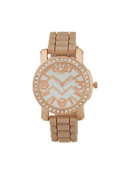 Chevron Print Rhinestone Watch - 3140071435066