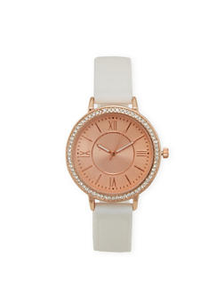 Roman Numeral Rhinestone Bezel Watch with Rubber Strap - 3140071435092