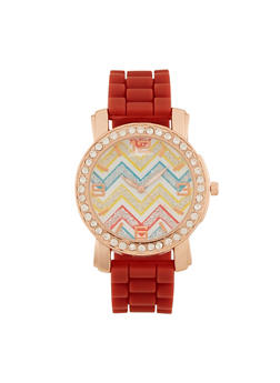 Watch with Chevron Face and Crystal Bezel - RUST - 3140071435260