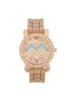 Watch with Chevron Face and Crystal Bezel - TAUPE - 3140071435260