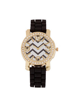 Chevron Face Watch with Silicone Strap - 3140071435263