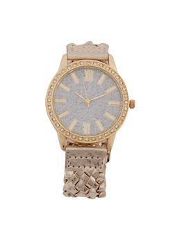 Glitter Rhinestone Watch with Woven Strap - 3140071435287