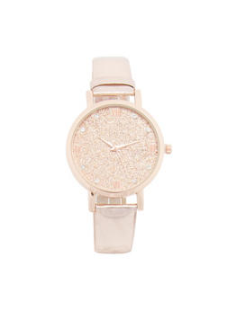 Glitter Face Watch with Mirror Metallic Band - 3140071435438