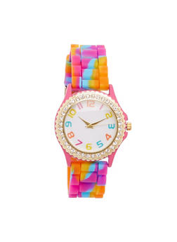 Tie Dye Rubber Watch with Rhinestone Bezel - 3140071435573