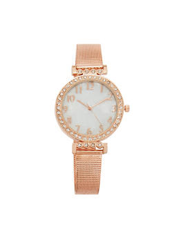 Pearlized Face Watch with Metal Mesh Strap - 3140071435817