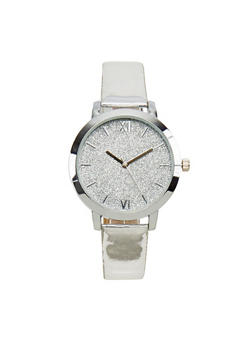 Roman Numeral Glitter Face Watch - 3140071436092