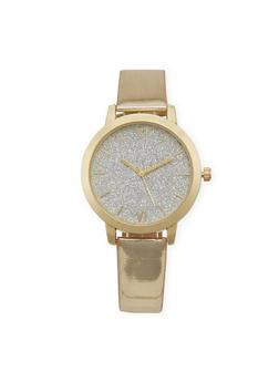 Roman Numeral Glitter Face Watch - 3140071436092
