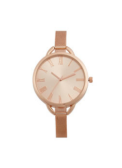 Round Face with Thin Metal Mesh Strap - 3140071436681
