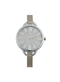 Thin Metallic Mesh Strap Glitter Face Watch - 3140071436881