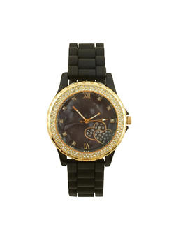 Rhinestone Bezel Watch with Rubber Chain Strap - 3140071437910