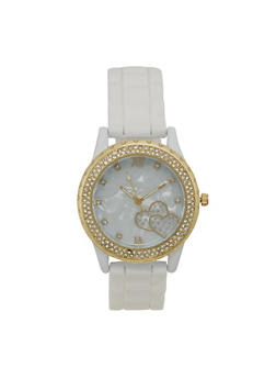 Rhinestone Bezel Watch with Rubber Chain Strap - 3140071437910