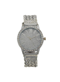 Glitter Face Watch with Woven Strap - 3140071438031