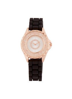 Rhinestone Bezel Watch with Rubber Chain Strap - 3140071438263