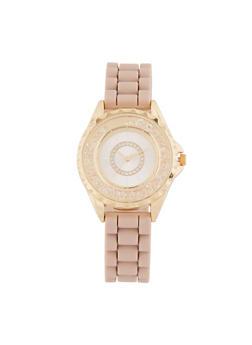 Rhinestone Bezel Watch with Rubber Chain Strap - 3140071438263