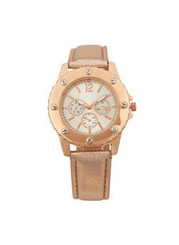 Embossed Faux Leather Bezel Watch - 3140071438301