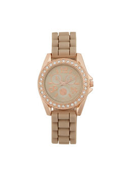 Rubber Watch with Crystal Bezel - TAUPE - 3140071438341