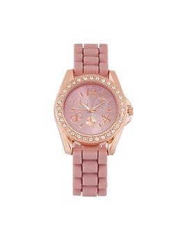 Rhinestone Bezel Watch with Silicone Strap - 3140071438532