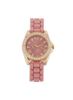 Rhinestone Watch with Silicone Strap - 3140071438569