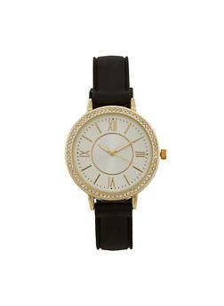 Rhinestone Bezel Watch with Rubber Strap - 3140071438592
