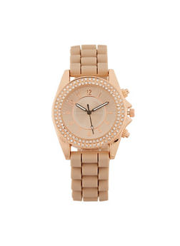 Rhinestone Bezel Watch with Silicone Strap - 3140071438598
