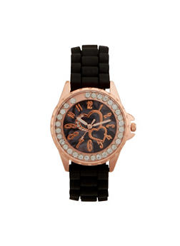 Rubber Watch with Studded Bezel and Hearts - 3140071438602