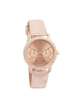 Metallic Faux Leather Watch with Rhinestone Bezel - 3140071439031