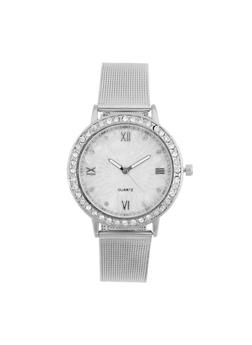 Rhinestone Bezel Watch with Metal Mesh Band - 3140072692272