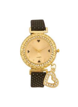 Rhinestone Charm Watch with Polka Dot Strap - 3140072692396