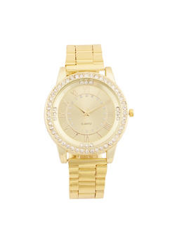 Rhinestone Trimmed Watch with Metallic Chain Strap - 3140072692398