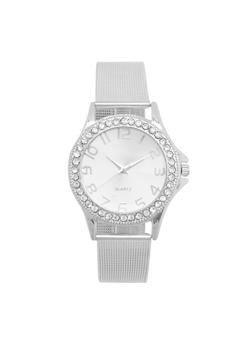Rhinestone Bezel Watch with Mesh Band - 3140072692443