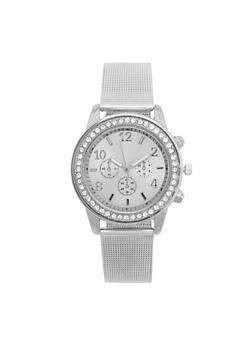 Rhinestone Border Metallic Mesh Watch - 3140072692823