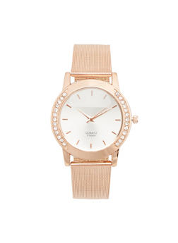 Rhinestone Accented Bezel Watch with Metal Mesh Band - 3140072693722
