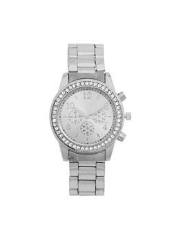 Chunky Metal Rhinestone Bezel Watch - 3140072695682