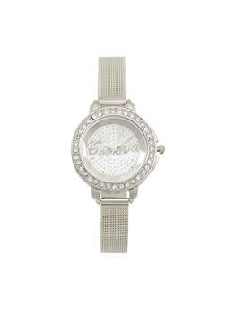 Thin Rhinestone Bezel Metallic Mesh Watch - 3140072695922