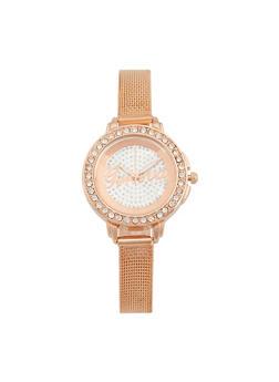 Thin Rhinestone Bezel Metallic Mesh Watch - 3140072695922