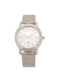 Rhinestone Detail Metallic Mesh Watch - 3140072697722